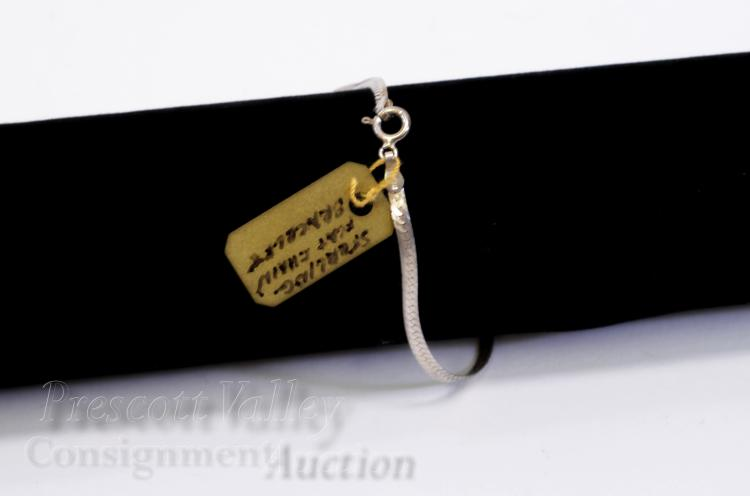 "Lot 66: Sterling Silver Flat Snake Chain 7"" Bracelet"