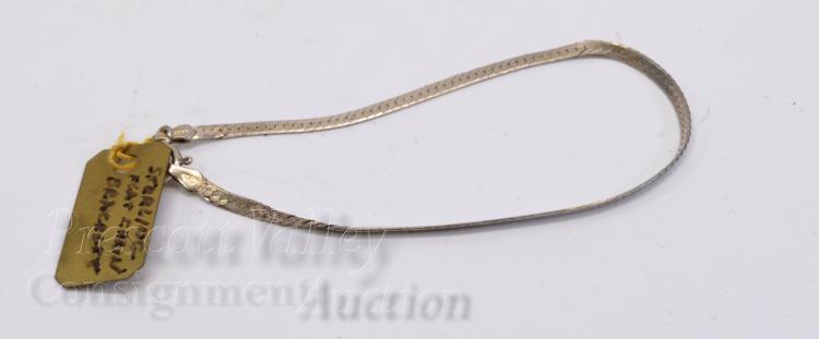 "Sterling Silver Flat Snake Chain 7"" Bracelet"
