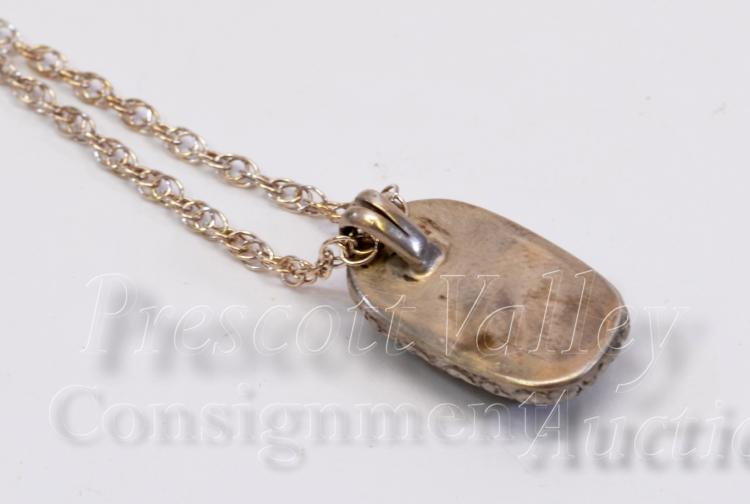 "Lot 67: 7 Gram Hand Stamped Sterling Silver and Picture Jasper Pendant on 18.25"" Chain Necklace"