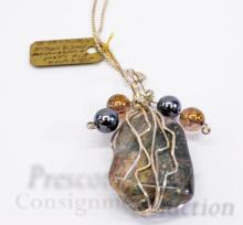 """Lot 68: 24 Gram Sterling Silver Wire Wrapped Polished Petrified Wood with Pyrite Inclusion Pendant on 23.5"""" Chain Necklace"""