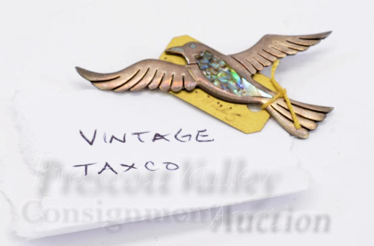 Lot 69: Vintage Mexican Taxco Sterling Silver and Inlaid Abalone Bird Pin Brooch Signed PC
