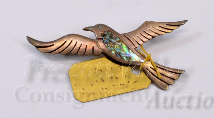 Vintage Mexican Taxco Sterling Silver and Inlaid Abalone Bird Pin Brooch Signed PC