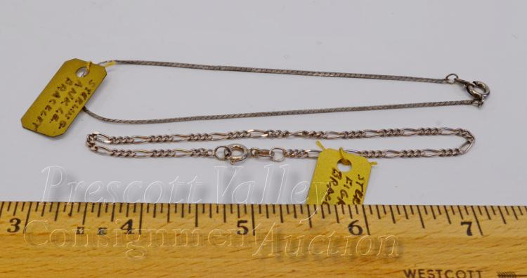 """Lot 70: Lot of 2 Sterling Silver Figaro 7.5"""" and Flat Chain 9"""" Ankle Bracelet"""