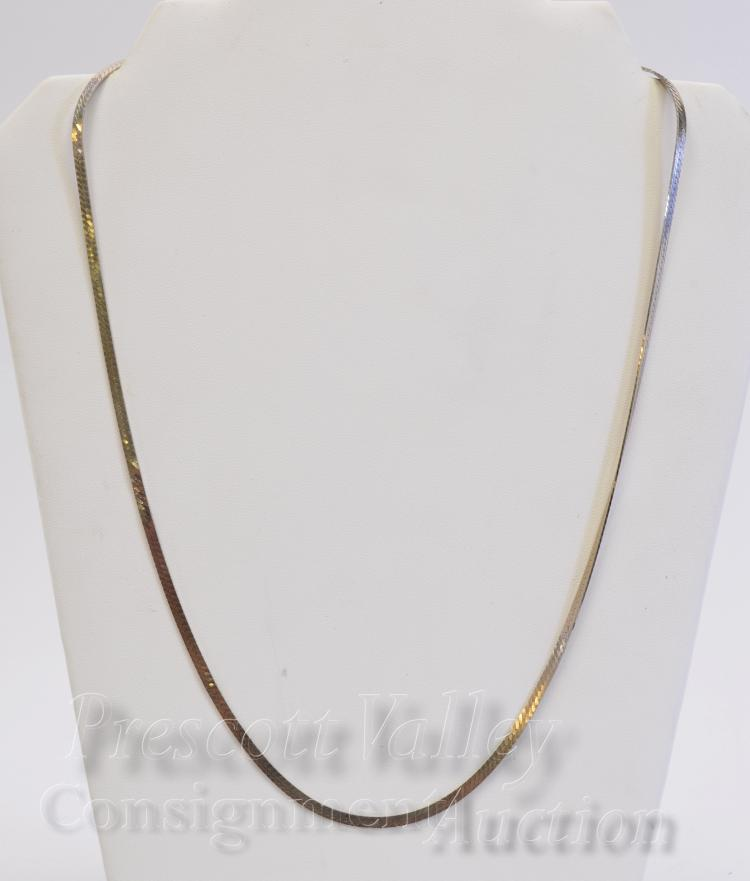 "10 Gram Sterling Silver Flat Herringbone 24"" Chain Necklace"