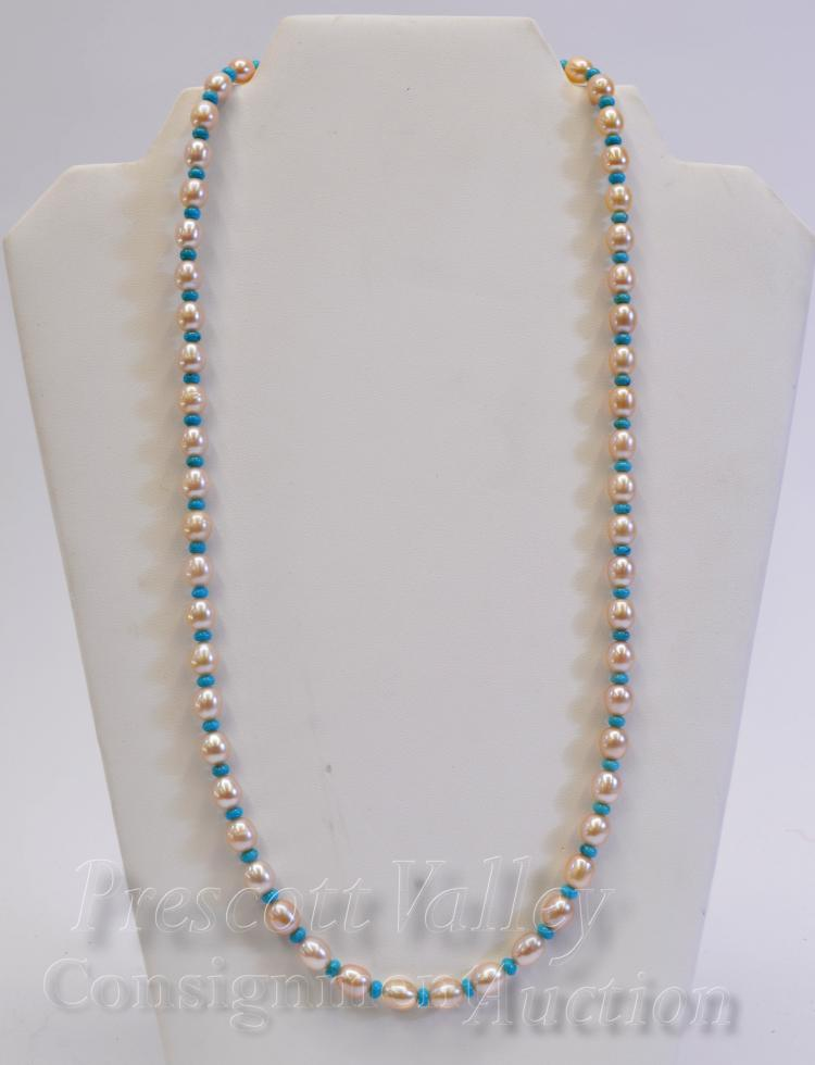 "Sterling Silver Pearl and Polished Turquoise Bead 24.25"" Necklace"