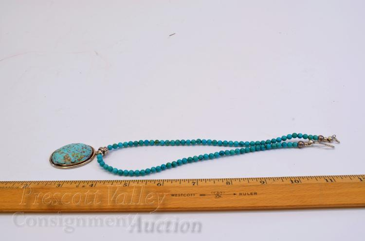 """Lot 74: Sterling Silver Polished Turquoise Bead and Cabochon 16.5"""" Necklace"""