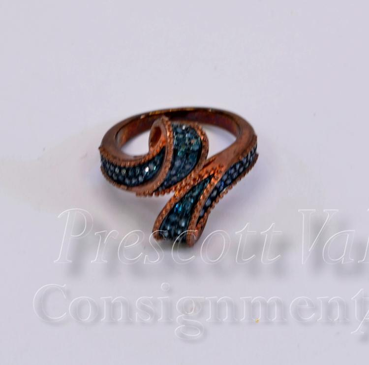 Lot 77: Antiqued Sterling Silver and Blue Moissanite Chip Ring Signed SJ Sz 6.25
