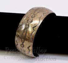 Lot 79: 43.8 Gram Navajo Hand Stamped Sterling Silver Cuff Bracelet Signed MKM