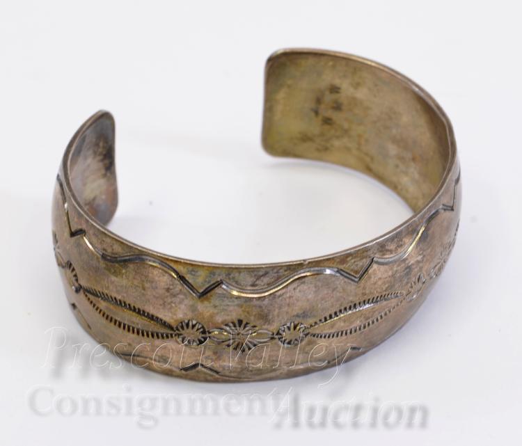43.8 Gram Navajo Hand Stamped Sterling Silver Cuff Bracelet Signed MKM