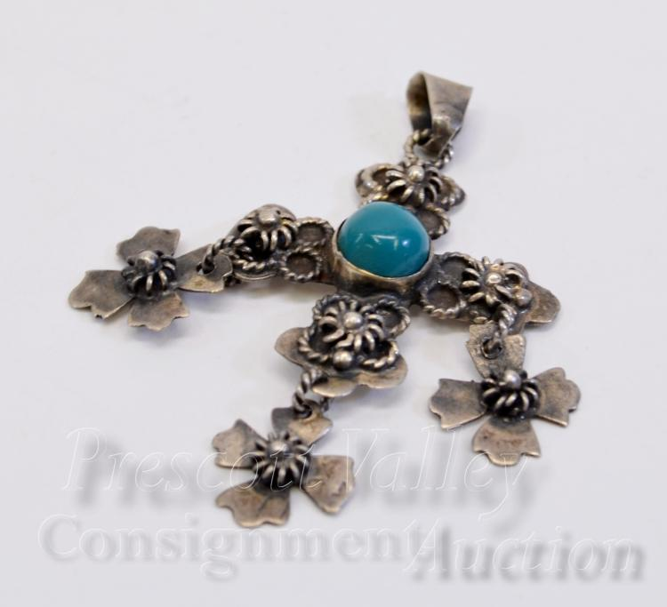 Vintage Mexican Taxco Sterling Silver and Turquoise Cross Pendant Signed JCB