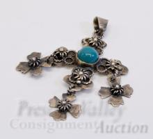Lot 81: Vintage Mexican Taxco Sterling Silver and Turquoise Cross Pendant Signed JCB