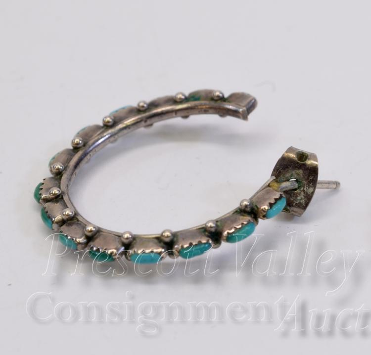 Lot 84: Sterling Silver and Turquoise Hoop Post Earrings One w/o Back