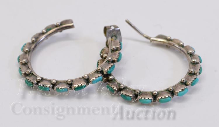 Sterling Silver and Turquoise Hoop Post Earrings One w/o Back