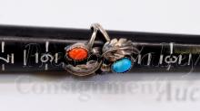 Lot 86: Navajo Sterling Silver Turquoise and Coral Ring Signed B Sz 5.5