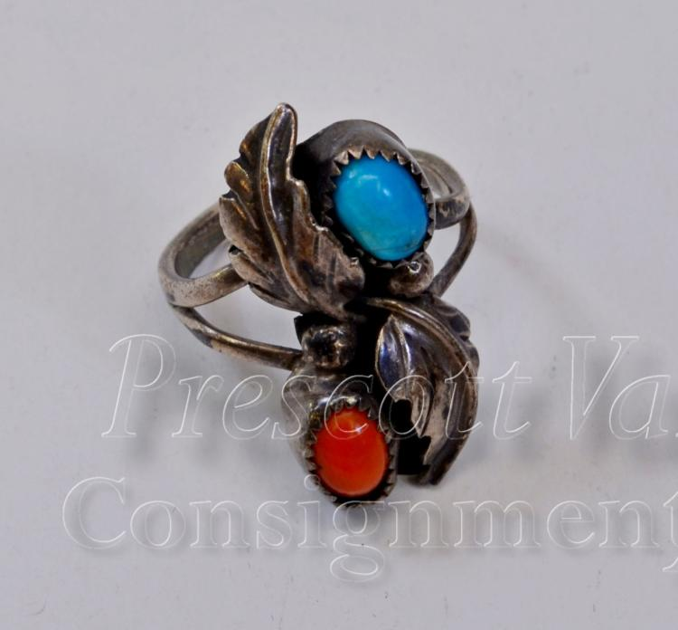 Navajo Sterling Silver Turquoise and Coral Ring Signed B Sz 5.5