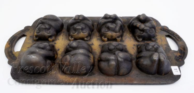 Vintage John Wright Cast Iron Teddy Bear Muffin Pan