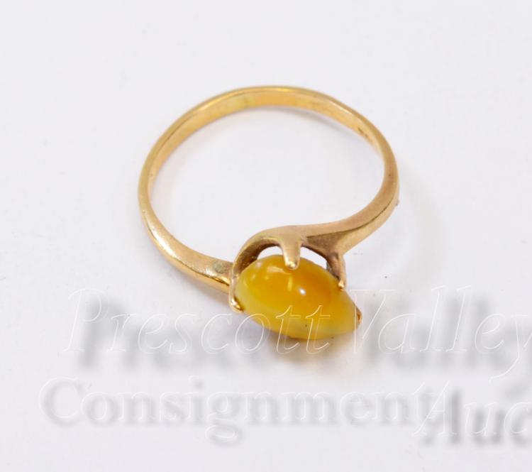 1.5 Gram 10K Yellow Gold and Tigers Eye Ring Sz 5.25