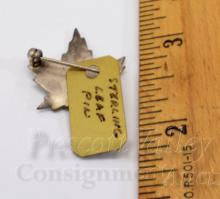 Lot 93: Etched Sterling Silver Maple Leaf Pin Brooch