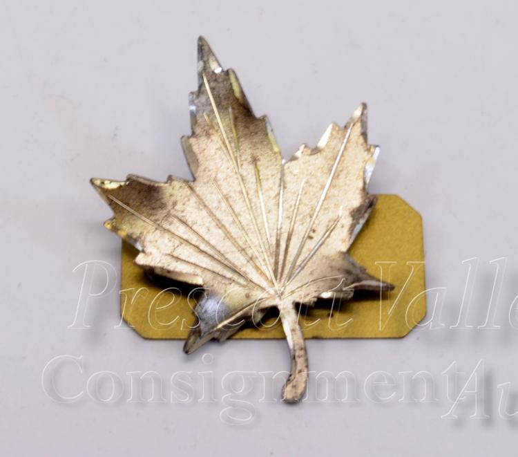 Etched Sterling Silver Maple Leaf Pin Brooch