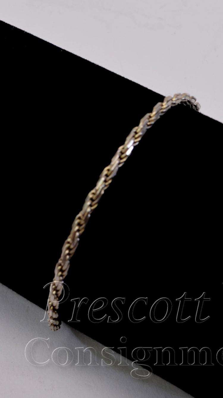 "Lot 94: Sterling Silver and Rope Braid Chain 7"" Bracelet"