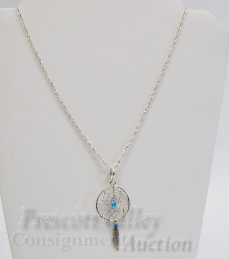 """Lot 96: Sterling Silver and Turquoise Dreamcatcher Pendant on 18"""" Chain Necklace"""