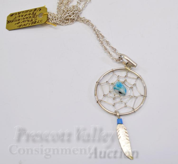 "Sterling Silver and Turquoise Dreamcatcher Pendant on 18"" Chain Necklace"