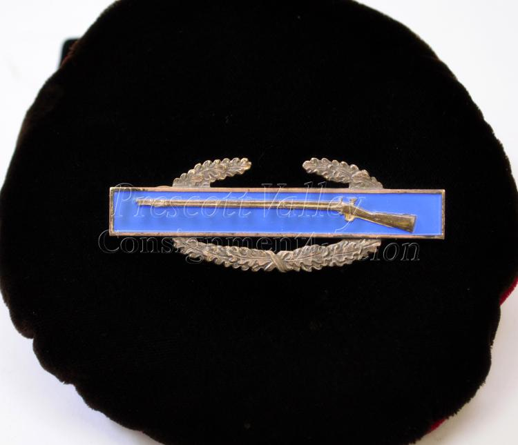 18.5 Gram Vintage Enameled Sterling Silver Infantry Marksman Award Pin