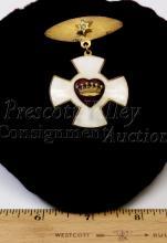 Lot 103: Vintage Odd Fellows Rebekah Sterling Silver Gold Tone Metal and Enamel Maltese Cross Award