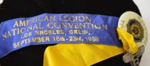 Lot 104: Vintage American Legion 1938 National Convention Welcome Pin Ribbon with Plane Charm