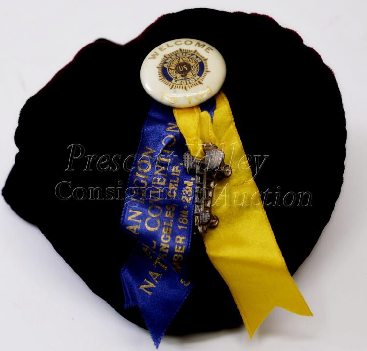 Vintage American Legion 1938 National Convention Welcome Pin Ribbon with Plane Charm
