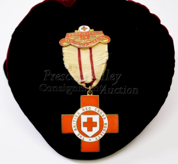 Vintage I.R. Gaunt Proficiency in British Red Cross Society Nursing Award Medal on Ribbon