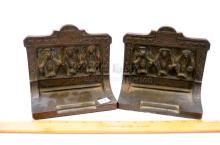 Lot 109: Vintage Bradley & Hubbard Speak No Evil Hear No Evil See No Evil Chimp Cast Iron Bookends