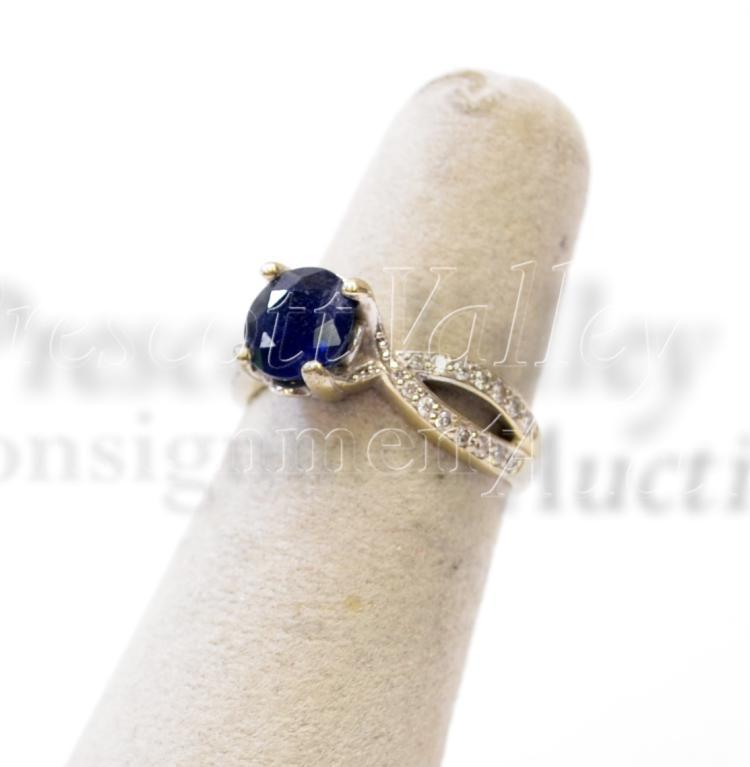 Lot 110: 3.7 Gram 14K White Gold Blue Sapphire and Chip Diamond Ring Sz 5.75