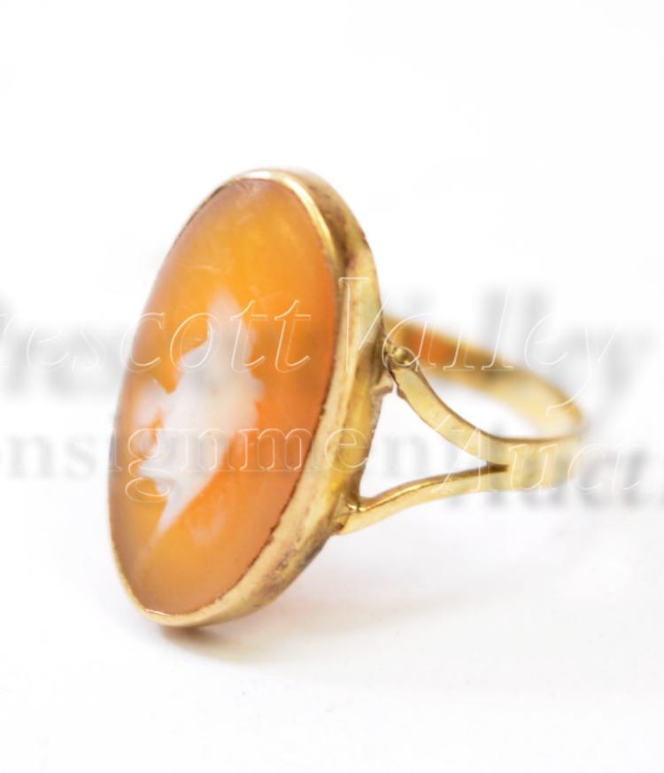 Lot 111: 1.8 Gram 14K Yellow Gold and Carved Shell Cameo Vintage Ring Sz 5.25