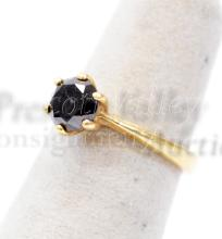 Lot 112: 2.7 Gram 14K Yellow Gold and Moissanite Solitaire Ring Sz 5.25