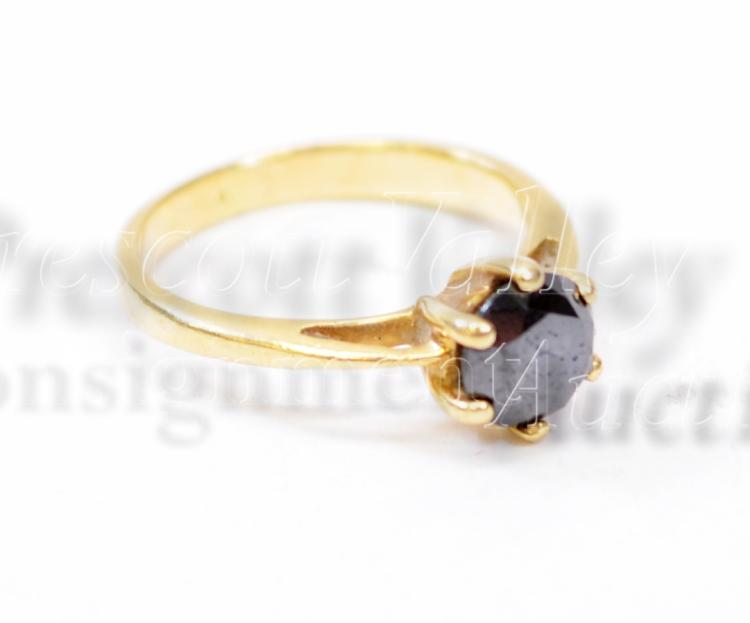2.7 Gram 14K Yellow Gold and Moissanite Solitaire Ring Sz 5.25