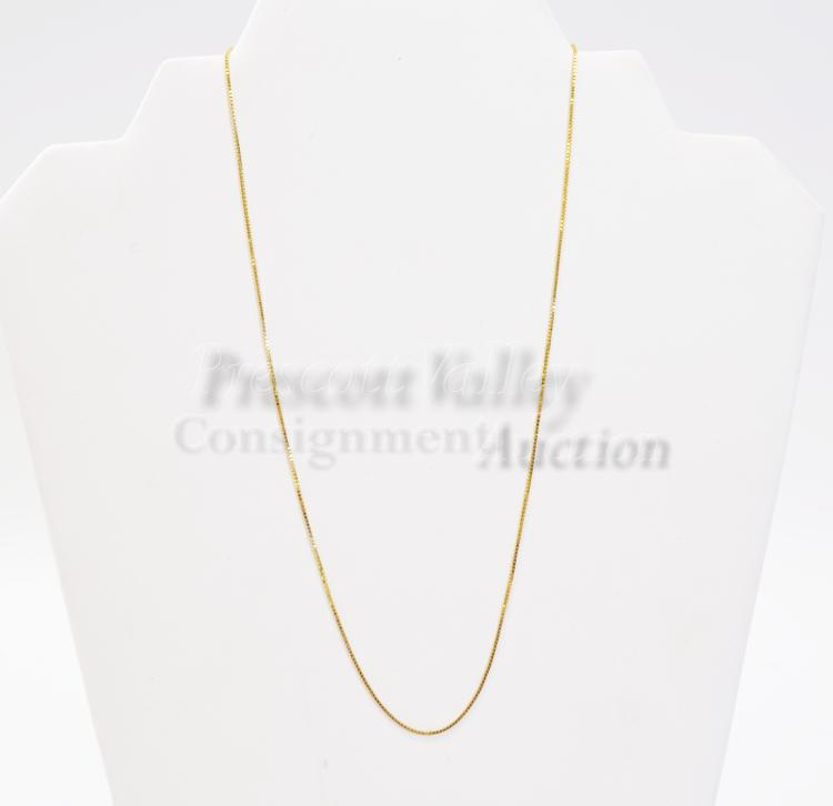 """Lot 115: 2.3 Gram 14K Yellow Gold 18"""" Box Chain Necklace"""