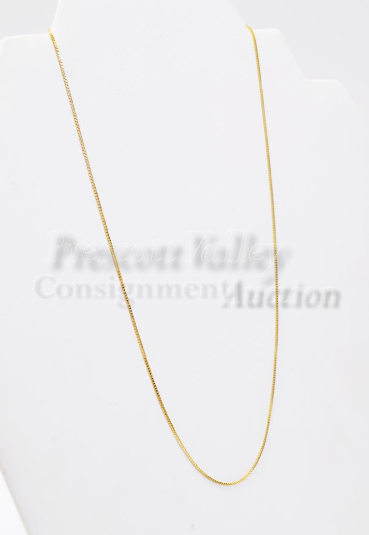 "2.3 Gram 14K Yellow Gold 18"" Box Chain Necklace"