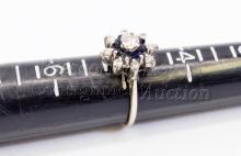Lot 118: 3.3 Gram 14K White Gold Moissanite and Diamond Ring Signed S and P Sz 5