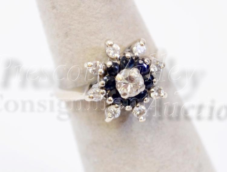 3.3 Gram 14K White Gold Moissanite and Diamond Ring Signed S and P Sz 5