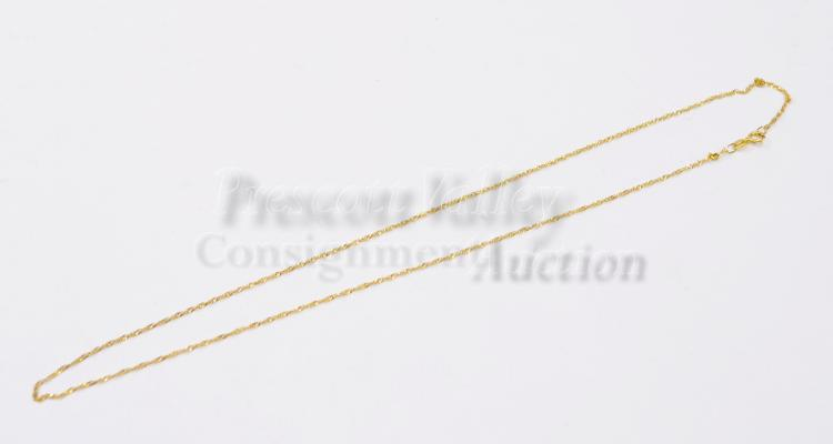 """Lot 119: 1.2 Gram 14K Yellow Gold 17.25"""" Fine Link Chain Necklace"""