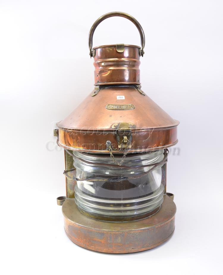 Lot 120: Large Vintage Brass Masthead Electrified Ships Lantern with Clear Glass Shade