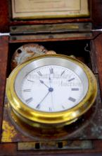 Lot 122: 138 Gram Sterling Silver Case WWI British Navy Wright & Craighead H.S. 2 Pocket Watch in Brass Wood Case