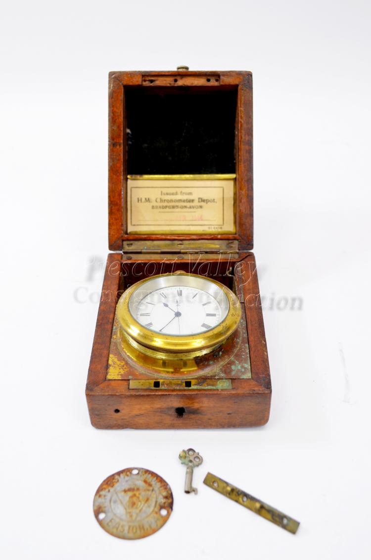 138 Gram Sterling Silver Case WWI British Navy Wright & Craighead H.S. 2 Pocket Watch in Brass Wood Case