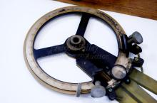 Lot 126: Vintage A. Leitz San Francisco US Navy Three Arm Metal Right Handed Protractor in Wood Case