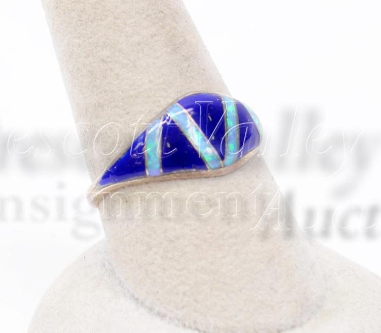 Lot 128: Sterling Silver Inlaid Lapis and Opal Ring Signed RM Sz 9