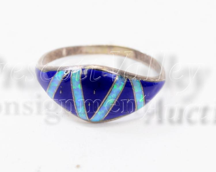 Sterling Silver Inlaid Lapis and Opal Ring Signed RM Sz 9