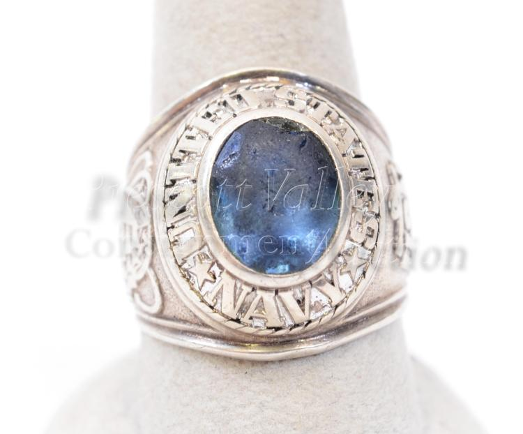Lot 130: 18.5 Gram Sterling Silver and Blue Glass USN Ring Signed Pride Sz 9.5