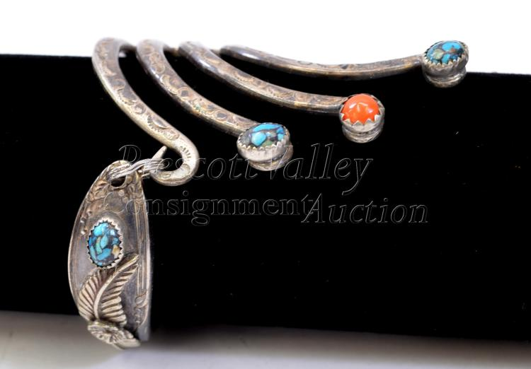 Lot 131: Hand Stamped Silver Plated Fork Chip Turquoise and Coral Bracelet