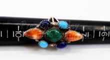 Lot 134: 8.6 Gram Signed Sterling Silver Malachite Spiny Oyster Turquoise and Lapis Ring Sz 8.5
